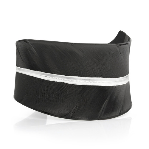 Women's Moonlit Melody Black Feather Cuff  By Montana Silversmiths BC2319SB