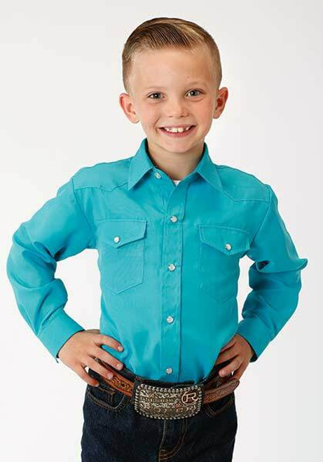 Clearance!  Boy's Long Sleeve Snap Front Shirt in Turquoise Blue 01-030-0025-3037 BU