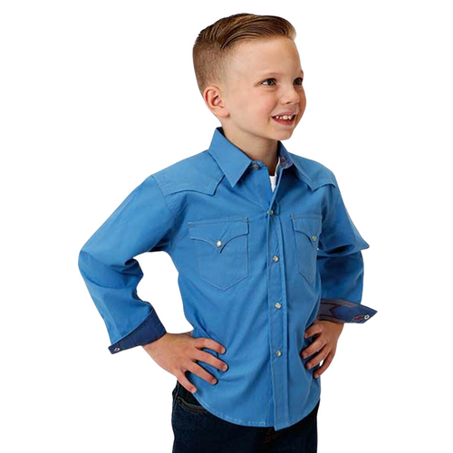 Children's Long Sleeve Blue Poplin Shirt by Roper  03-030-0060-0317 BU
