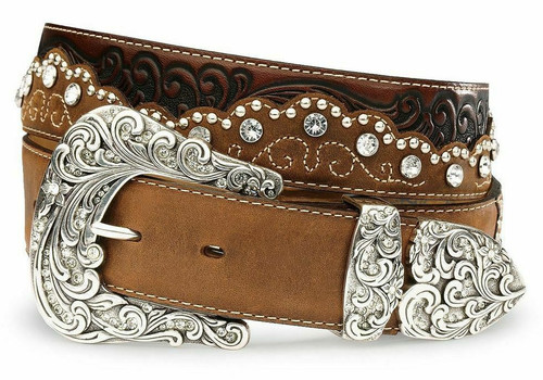 Women's  Kaitlyn Crystal Leather Western Belt by Tony Lama C50499