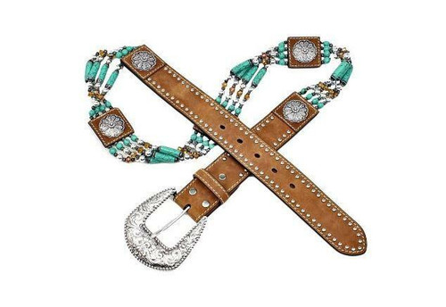 Women's Beaded and Floral Western Belt by M&F Western N3412744