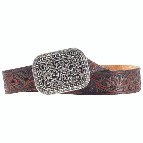 Women's Tooled Brown Leather Belt by Ariat  A10006957