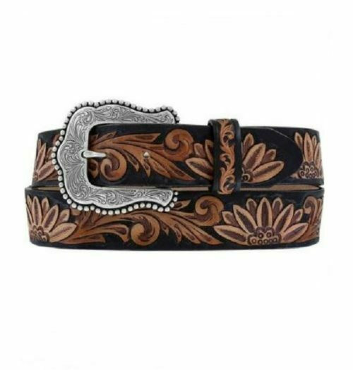 Women's Tony Lama Del Heart Daisy Leather Belt By Leegin C51263