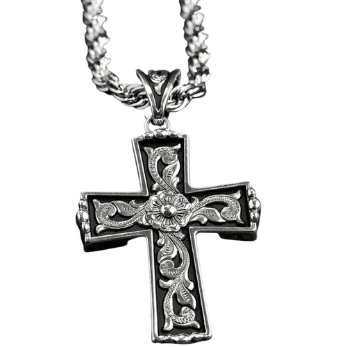 Men's Twister Silver Floral Scroll Cross Necklace 32110