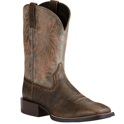 Sport Wide Square Toe Western Boot Brooklyn Brown Ashes 10019958