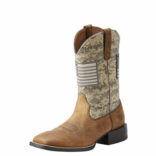 Ariat Sport Patriot Distressed Brown Camo Western Boot 10023359