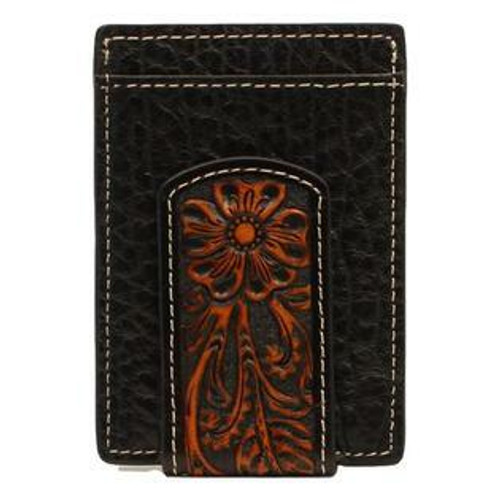 Leather Floral Overlay Money Clip  N500004601
