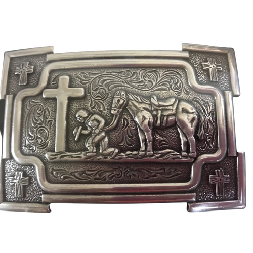 Praying Cowboy with Horse Belt Buckle 37405