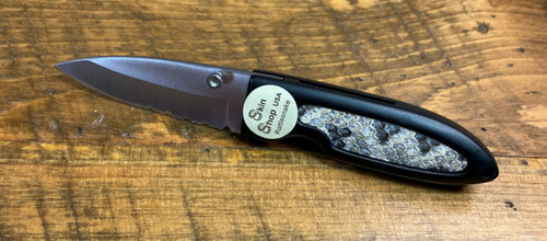 Black Stainless Steel Pocket Knife With Rattlesnake Inlay By Skin Shop 210105RT