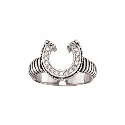Striped Horseshoe Ring with Crystals Size 7 by Montana Silversmiths RG29CZ