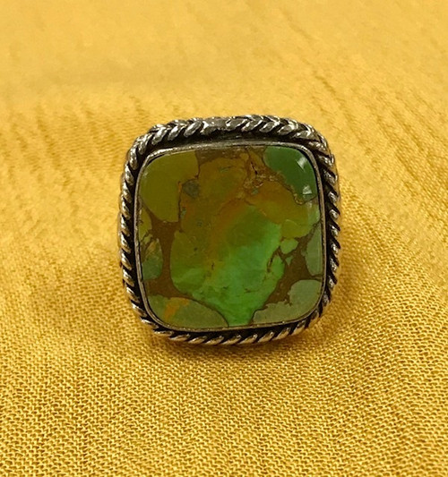 Discounted!  Sonoran Gold Turquoise Square Ring Sz 7 by Jewelry Outlet Texas GTR1