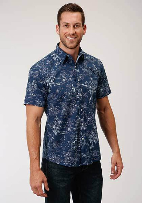 """CLEARANCE"" Men's Tropics Print Short Sleeve Western Shirt by Roper 3-02-0064-4002"