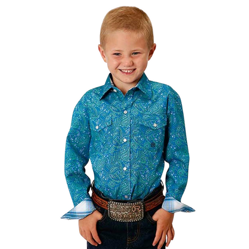 Children's Amarillo Blue Meadow Paisley Long Sleeve Western Shirt by Roper 3-30-0225-0502