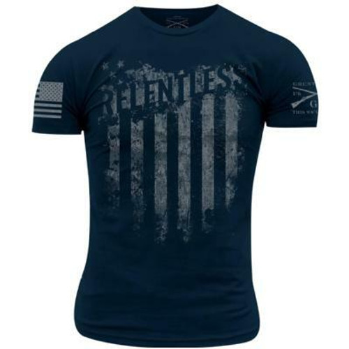 Relentless Flag Navy T-Shirt By Grunt Style GS2801