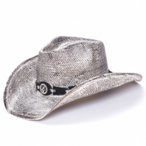 White Stain Star Concho Straw Western Hat by California Hat Co TX-2265