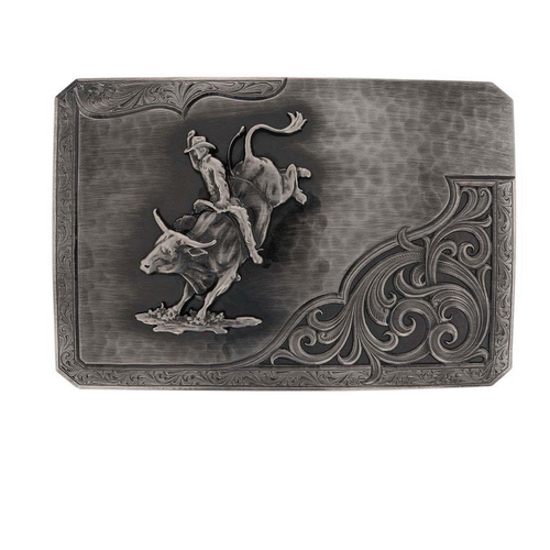 Antiqued Silver Out Bull Rider Buckler By Montana Silversmith 39610NB-205H