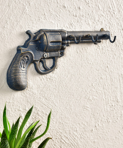 Hand Gun Design Wall Decor With Three Hooks By Giftcraft 088310