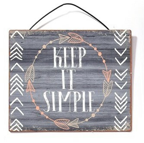 Keep It Simple Metal Hanging Sign By Giftcraft Inc. 714431