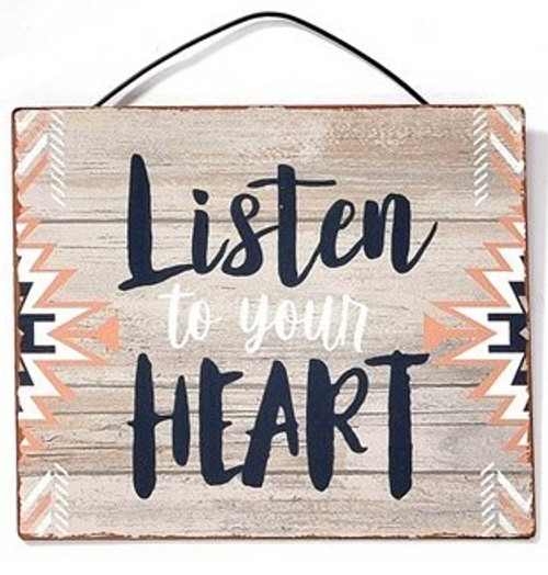 Listen To Your Heart Metal Hanging Sign By Giftcraft Inc. 714431-5