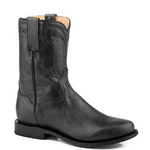 Men's Western Black Leather Round Toe Boot By Roper 09-020-7535-1614 BL