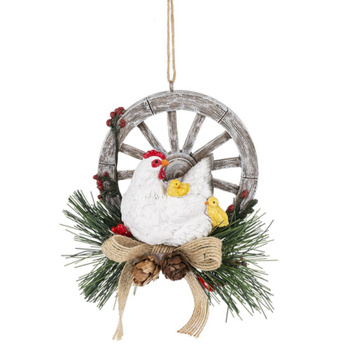 Hen With Chicks on Wagon Wheel Ornament MX175955