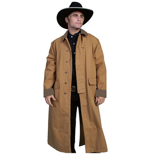 Classic Authentic Brown Canvas Duster By Scully RW107
