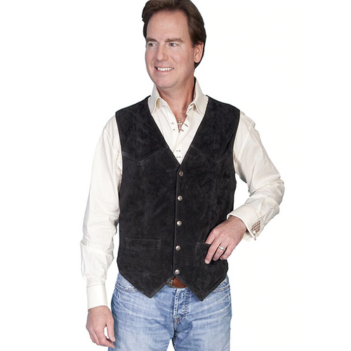 Men's Black Suede Western Vest By Scully 507-214
