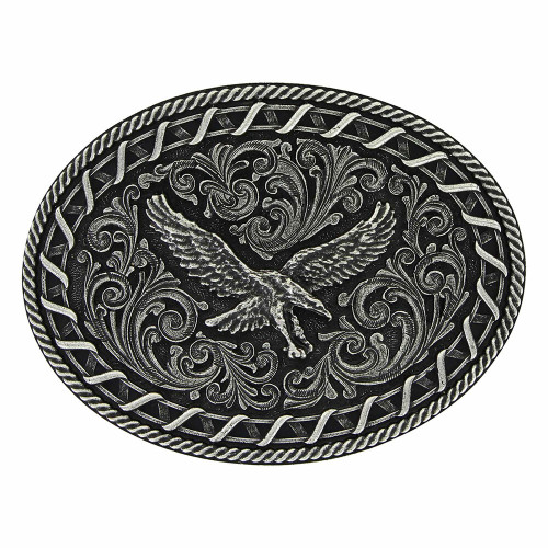 Antiqued Buck Stitch Oval Soaring Eagle Attitude Buckle by Montana Silversmiths A730