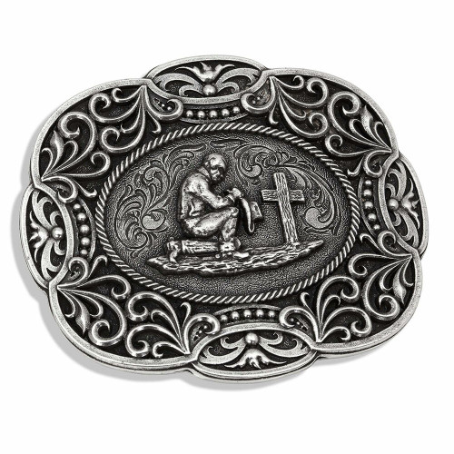 Kneeling Cowboy Belt Buckle by Montana Silversmiths A778S