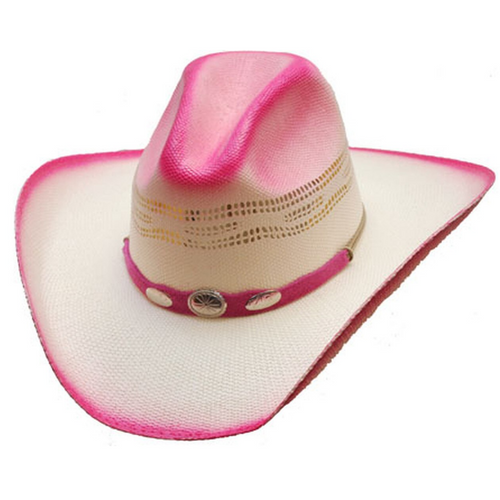 Hot Pink Straw Cowboy Hat with Silver Conchos