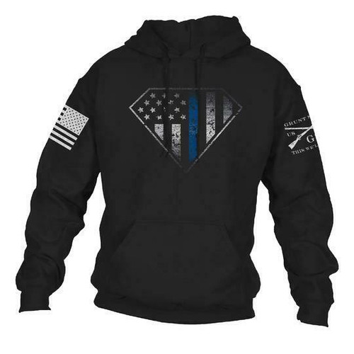 Blue Line Crest Hoodie by Grunt Style GS3853