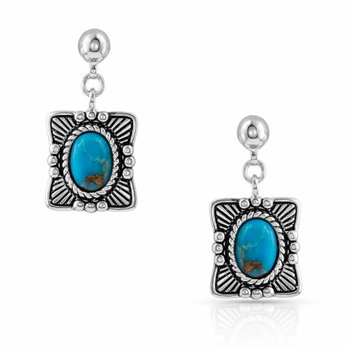 Pillowed Turquoise Portrait  Earrings by Montana Silversmiths ER4708