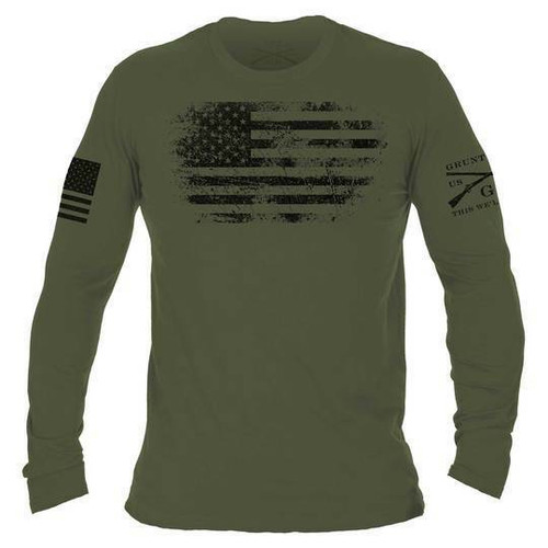 Vintage American Long Sleeve Military Green Shirt by Grunt Style GS3160