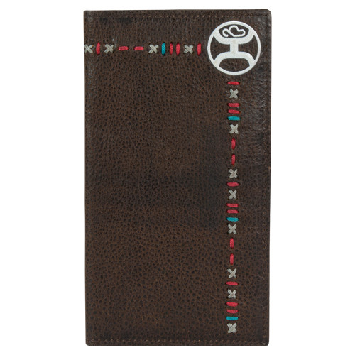 Hooey Rodeo Wallet Dark Brown with Multi Stitching 2041566W2