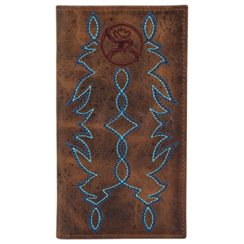 Hooey Men's Western Wallet Rodeo Leather Blue Boot Stitching Roughy Logo Brown 2043566W2