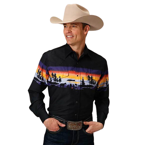 Last One!!  Men's Western Sky Long Sleeve Western Shirt by Roper 03-001-0421-0654 BL