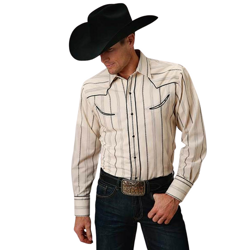 CLEARANCE! Men's Long Sleeve Western Retro Piped Yoke Shirt By Roper 01-001-0086-0674