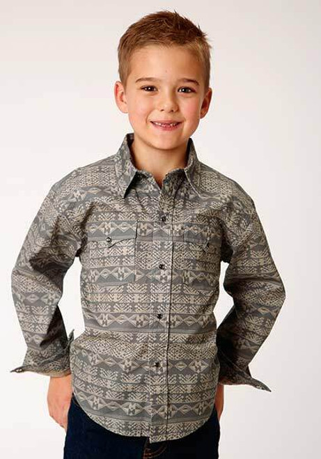 Boy's Pyramid Aztec Western Shirt By Roper 03-030-0064-0769 BL