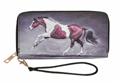 Galloping Paint Horse Wallet Wristlet by AWST LW447