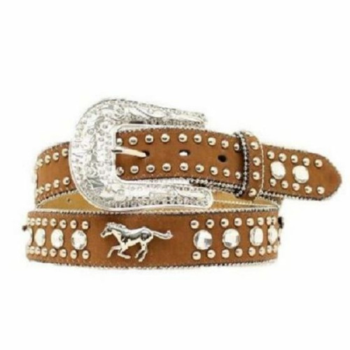 Girl's Running Horse Bling Belt by Nocona N4427644