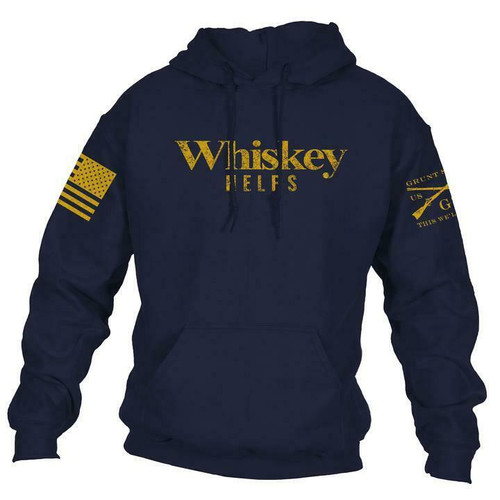Whiskey Helps Navy Hoodie By Grunt Style GS3598