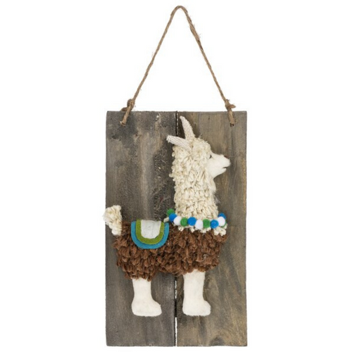 Llama Wall Decor On Wood Plaque ME178368
