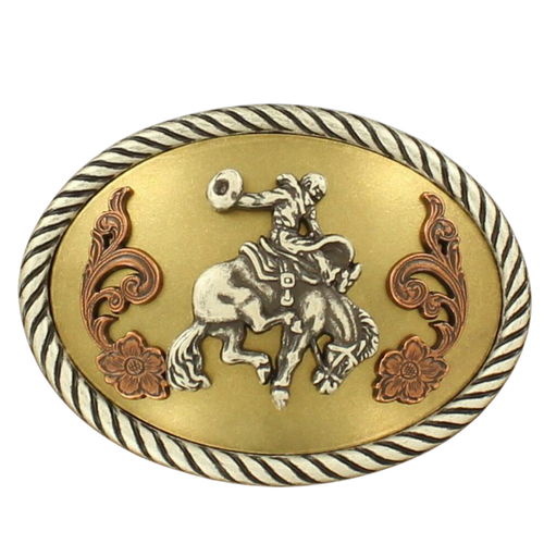 Copper & Gold Oval Saddle Bronc Buckle by M&F 37014