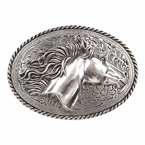 Silver Oval Horsehead Buckle by M&F 37012