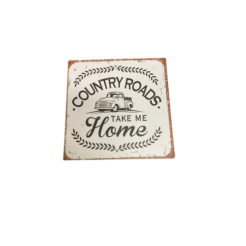 A Country Roads Metal Wall Plaque 714380-1