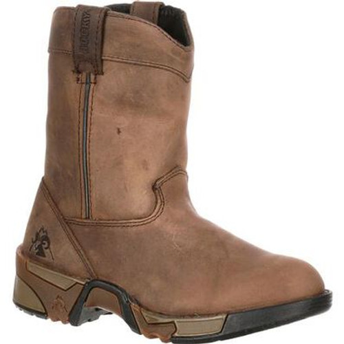 Children's Brown Aztec Pull-On Western Boot By Rocky Brands FQ0003638