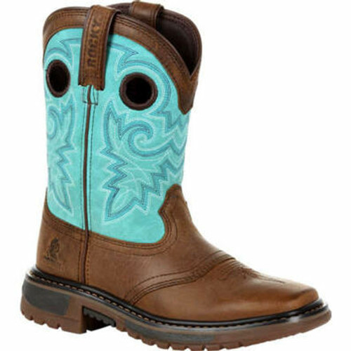 Big Kids Brown/Teal Original Ride FLX Western Boots By Rocky Brands RKW0299Y