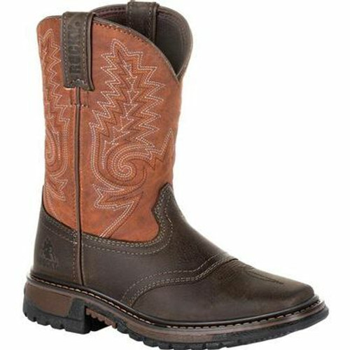 Kid's Chocolate/Orange Ride FLX Western Boots By Rocky Brands RKW0257C