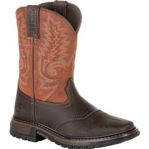 Big Kid's Brown/Orange Ride FLX Western Boot By Rocky Brands RKW0257Y