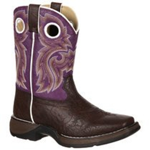 Lil' Kids' Purple/Brown Western Boot By Durango BT286